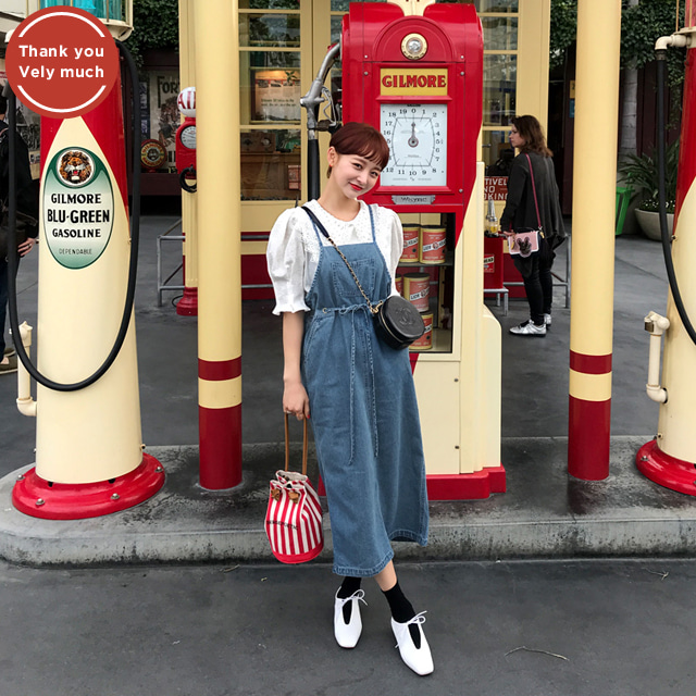 [THX,V] Drawstring Pinafore Denim Dress