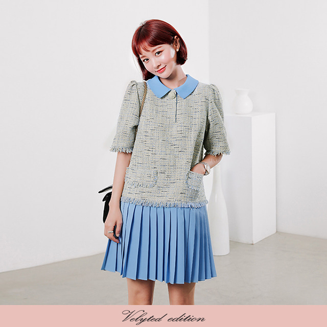 [VELYTED EDITION] Pleated Tweed Mini Dress