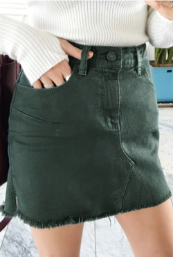 Fringed Hem Mini Coated Denim Skirt