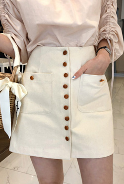 Button-Front Pocket Mini Skirt