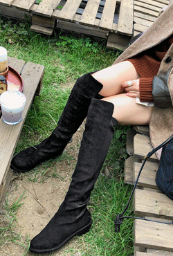 Elastic Panel Knee-High Boots