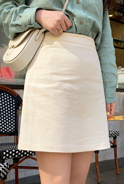 Ivory-Tone Mini Cotton Skirt